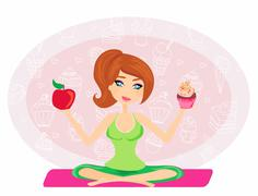 girl choosing between an apple and a cupcake - stock illustration