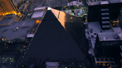 Aerial view of the Luxor in Las Vegas, Nevada. Stock Footage