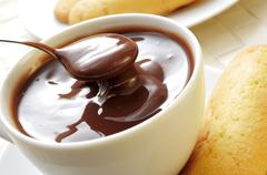 Xocolata i melindros, hot chocolate with typical pastries of catalonia, spain Stock Photos