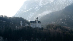 Castle Neuschwanstein early in the morning Stock Footage