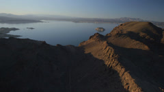 Aerial view of Lake Mead near the Hoover Dam. - stock footage