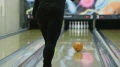 Woman bowler playing bowling - stock footage