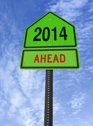 2014 ahead roadsign Stock Photos