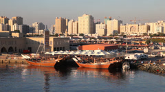Dhows at Sharjah Creek Stock Footage