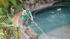 Cleaning Pool Corner Stock Footage