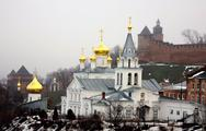 Stock Photo of winter january view of church elijah the prophet and kremlin nizhny novgorod