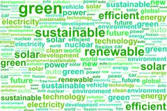Clean Sustainable Renewable Energy Word Cloud - stock illustration