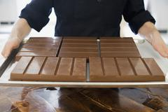 organic chocolate manufacturing. a person holding a tray of processsed chocol - stock photo