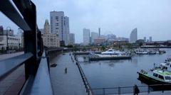 Yokohama harbour in the evening - stock footage
