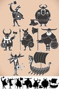 viking silhouettes - stock illustration