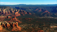 Stock Video Footage of Sedona Rock Formation Aerial WS