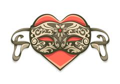 Red heart in vintage decorative mask Stock Illustration