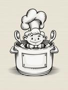 Smiling boy cooking in the kitchen Stock Illustration