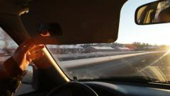 Driving on a motorway against the blinding sun Stock Footage
