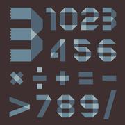 Font from bluish scotch tape - Arabic numerals - stock illustration
