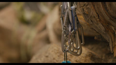 Detail shot of carabiners. - stock footage