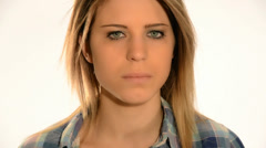 Sad angry beauty, visual effect in eyes Stock Footage