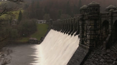 Overflow water cascading over Lake Vyrnwy dam, Powys, Wales, January 28th 2014. Stock Footage