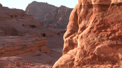 Giant sandstone tombs in the ancient Nabatean ruins of Petra, Jordan. Stock Footage