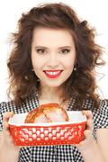 lovely housewife with meat - stock photo