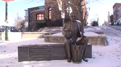 Statue of Dr James Naismith, inventor of basketball. Stock Footage