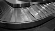 Stock Video Footage of Baggage carousel. B & W.