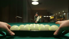 Game of billiards in poolroom Stock Footage