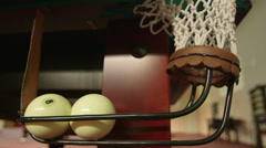 Billiard balls in corner pocket Stock Footage