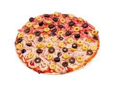 sausage and olives are laid out on the grated cheese pizza. isolated - stock photo