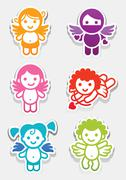 Colored stickers angel-set icons, collection symbols Stock Illustration
