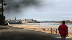 Running at Saint Malo Stock Footage