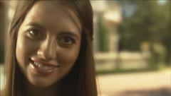 Close Up Portrait Of Beautiful Teen Girl Stock Footage
