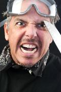 man attacks with knife - stock photo