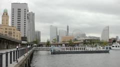 Yokohama downtown with harbour - stock footage