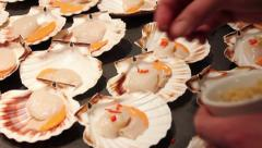 Cooking Pack Four - Fish being prepared, scallops & deep frying Stock Footage