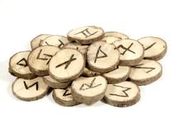 Studio shot collection of old wooden runes Stock Photos