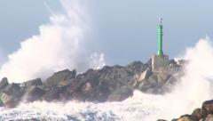 Storm Waves Crashing on Rocks - stock footage