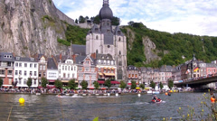 Water sport show in Dinant. Stock Footage