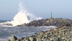 Rocky Pier Storm Waves Stock Footage
