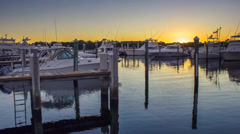 Boat and Yacht Dock and Anchored of the Marina at Jupiter Florida Riverwalk Stock Footage