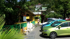 Guadeloupe Basse Terre district 054 parking at Plage de Malendure beach Stock Footage