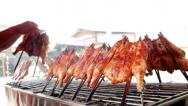 Stock Video Footage of Grilled chicken in the market, bangkok thailand