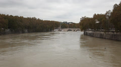 The Tiber river and Ponte Sisto, Rome, Italy Stock Footage