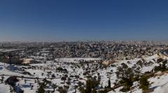 Jerusalem snow cityscape 1213 Stock Footage