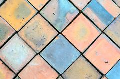 View of old colorful tile background Stock Photos