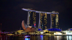 Nightscape of Singapore Marina Bay Sand - stock footage