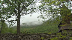 URNES, NORWAY: dry stone wall Urnes Stave Church Stock Footage