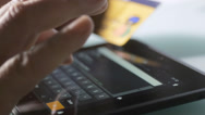 Stock Video Footage of Online credit card payment with tablet