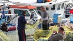 Fishermen Net Harbor Boat Stock Footage