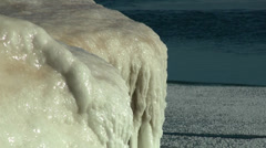 Ice accumulation on Lake Michigan Beach 2 Stock Footage